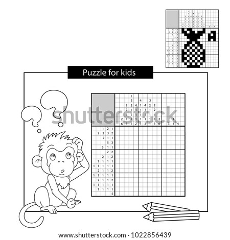 Education Puzzle Game for school Children. Ananas. Black and white japanese crossword with answer. Nonogram with answer. Graphic crossword. Coloring Page Outline Of monkey. Coloring book for kids