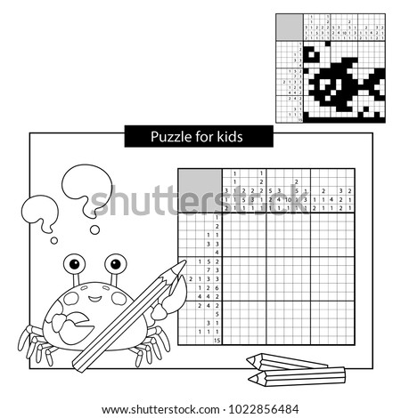 Education Puzzle Game for school Children. Fish. Black and white japanese crossword with answer. Nonogram with answer. Graphic crossword. Coloring Page Outline Of sea crab. Coloring book for kids.