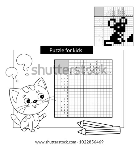 Education Puzzle Game for school Children. Mouse. Black and white japanese crossword with answer. Nonogram with answer. Graphic crossword. Coloring Page Outline Of little cat. Coloring book for kids.