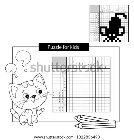 Education Puzzle Game for school Children. Mouse. Black and white japanese crossword with answer. Nonogram with answer. Graphic crossword. Coloring Page Outline Of little cat. Coloring book for kids
