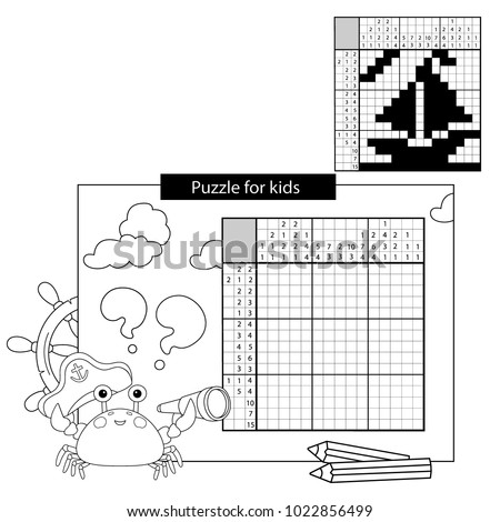 Education Puzzle Game for school Children. Ship. Black and white japanese crossword with answer. Nonogram with answer. Graphic crossword. Coloring Page Outline Of sea crab. Coloring book for kids.