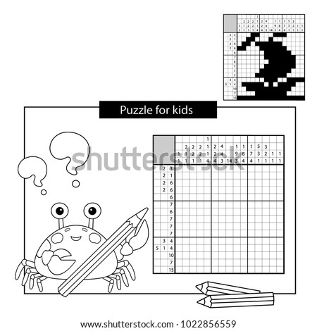 Education Puzzle Game for school Children. Ship. Black and white japanese crossword with answer. Nonogram with answer. Graphic crossword. Coloring Page Outline Of sea crab. Coloring book for kids