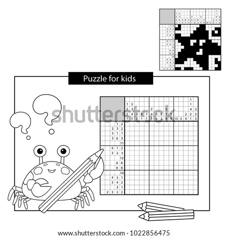 Education Puzzle Game for school Children. Starfish. Black and white japanese crossword with answer. Nonogram with answer. Graphic crossword. Coloring Page Outline Of sea crab. Coloring book for kids.