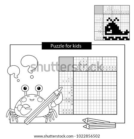 Education Puzzle Game for school Children. Whale. Black and white japanese crossword with answer. Nonogram with answer. Graphic crossword. Coloring Page Outline Of sea crab. Coloring book for kids.
