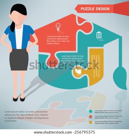 Education puzzle info graphic design and character clean vector
