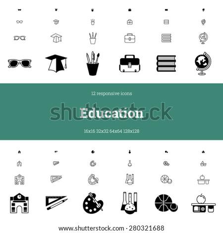 education responsive icon set