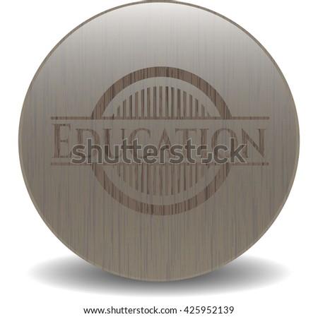 Education retro style wood emblem