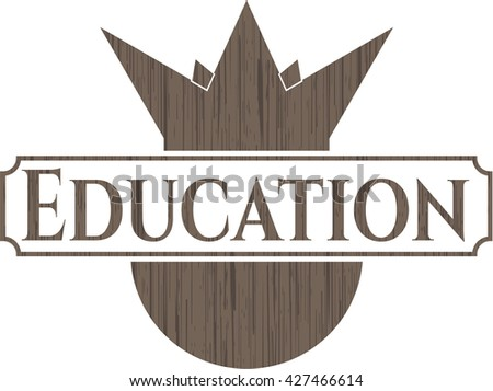 Education retro wood emblem