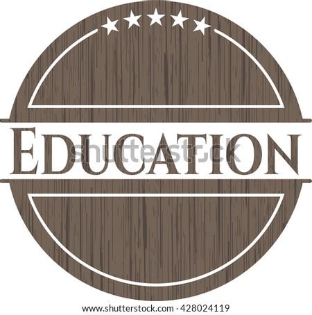Education retro wooden emblem