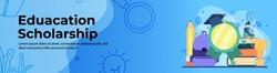 Education scholarship Web Banner Design. Student Loan, diploma scholarship header or footer banner.