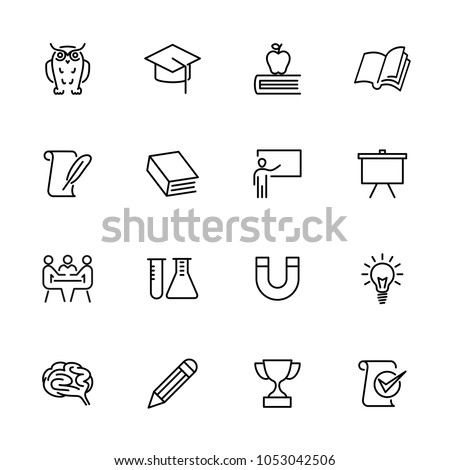 Education, school and learning line icon set. Editable stroke vector, isolated at white background