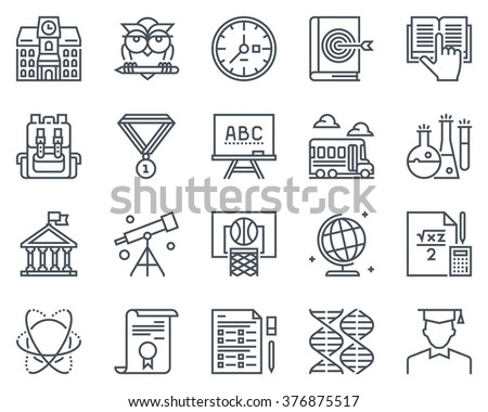 Education, school icon set suitable for info graphics, websites and print media and  interfaces. Line vector icons.