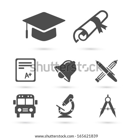 Education school Icons set isolated on white. Vector illustration