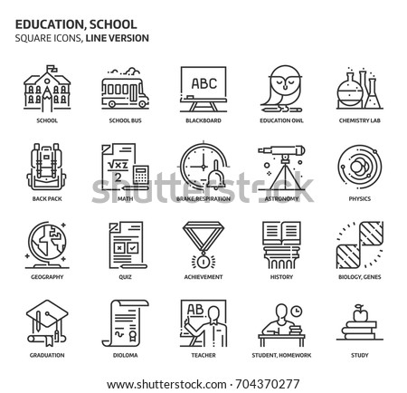 Education, school square icon set. The illustrations are a vector, editable stroke, thirty-two by thirty-two matrix grid, pixel perfect files. Crafted with precision and eye for quality.