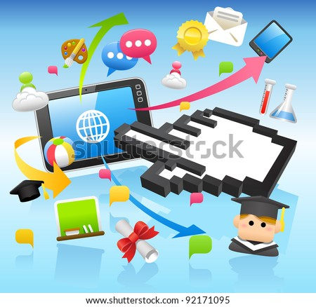 Education,school,ta blet pc,cloud computing concept - stock vector