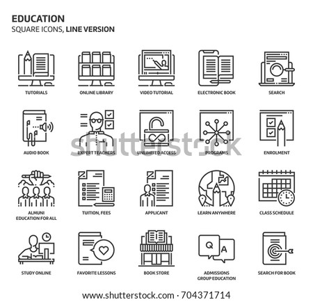 Education, square icon set. The illustrations are a vector, editable stroke, thirty-two by thirty-two matrix grid, pixel perfect files. Crafted with precision and eye for quality.