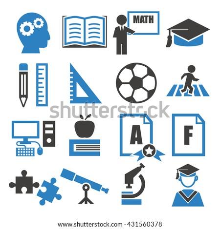 education, study icon set