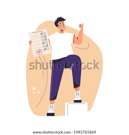 Education, studying, childhood, new level concept. Young happy cheerful smiling boy pupil character standing with test exam results showing thumbs up. Successful goal achievement and back to school. Photo stock ©