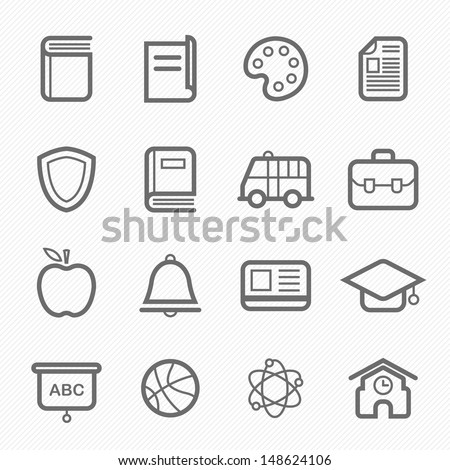 education symbol line icon on white background vector illustration
