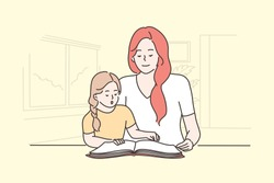 Education, teaching, motherhood, childhood concept. Young woman mom and happy child kid daughter sitting and reading book together in living room. Family remote home study and mothers day illustration