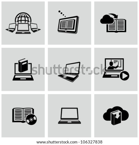 Education technology related icons set Education online.