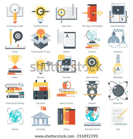 Education theme, flat style, colorful, vector icon set for info graphics, websites, mobile and print media.