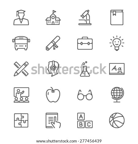 education thin icons