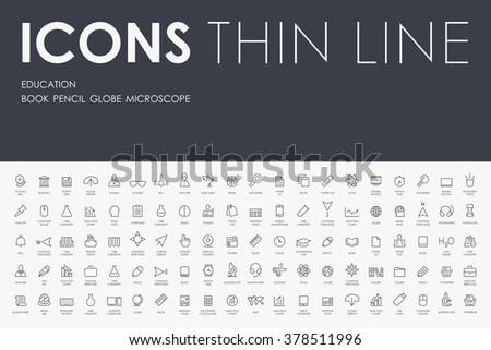 education Thin Line Icons
