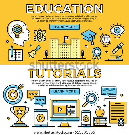 Education, tutorials thin line banners set. Learning concepts. Flat design, line icons set. Modern objects for web banners, web sites, advertising, infographics. Premium quality. Vector illustration.