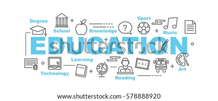 education vector banner design concept, flat style with thin line art icons on white background