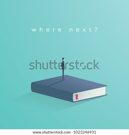 Education vector concept. Businessman or student standing on book looking at future. Symbol of career, job, graduate, achievement, wisdom. Eps10 vector illustration.