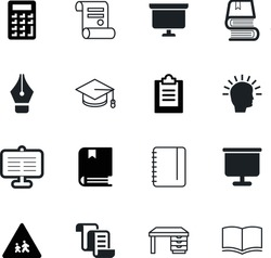 education vector icon set such as: notepad, academy, report, diary, fountain, detail, nib, educator, idea, science, traffic, digital, ink, classic, desk, warning, vintage, table, magazine, academic