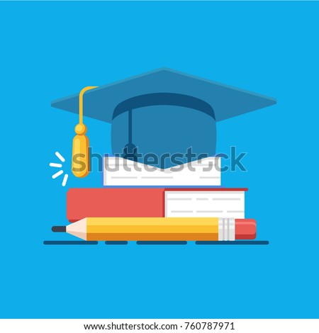 Education vector illustration, academy hat on heap of books, studying and teaching concept flat illustration on blue background