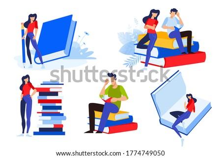 Education. Vector illustrations of people with books. Concepts for graphic and web design, marketing material, business presentation templates, education, book store and library, e-book.
