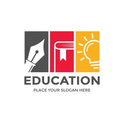 Education vector logo template. This design use pen, book and bulb lamp. Suitable for learning or publisher business.