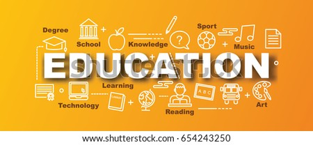 education vector trendy banner design concept, modern style with thin line art icons on gradient colors background