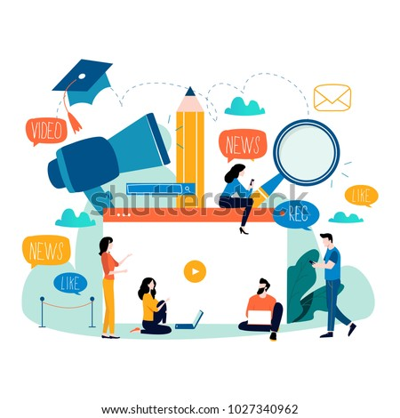 Education, video tutorial, webinar, training courses, distance education flat vector illustration. Internet studying, e-learning, online education design for mobile and web graphics