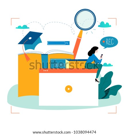 Education, video tutorial, webinar, training courses, distance education flat vector illustration. Internet studying, online book, e-learning, online education design for mobile and web graphics