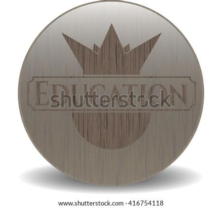 Education vintage wooden emblem