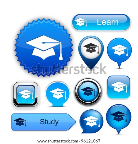 Education web buttons for website or app. Vector eps10.
