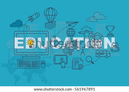 Education web page banner concept with thin line flat design