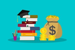 Education with scholarship. Money for tuition in school, college, university. Hat for student in graduation. knowledge of bachelor or academic. Study and finance concept. Invest icon. Vector.