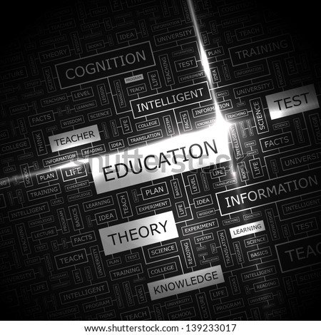 EDUCATION. Word cloud concept illustration.