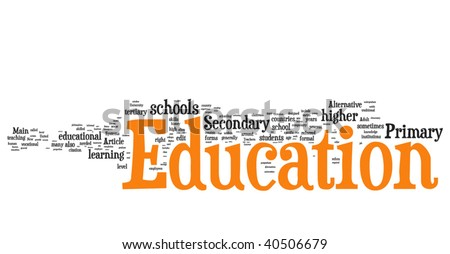 Education word cloud illustration. Graphic tag collection.