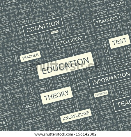 EDUCATION Word cloud illustration Tag cloud concept collage Vector text illustration