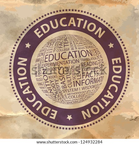 EDUCATION. Word collage. Vector stamp.