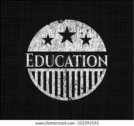 Education written with chalkboard texture