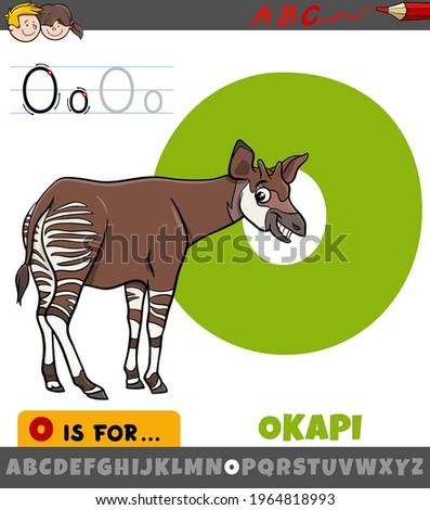 Educational cartoon illustration of letter O from alphabet with okapi animal character Foto stock ©