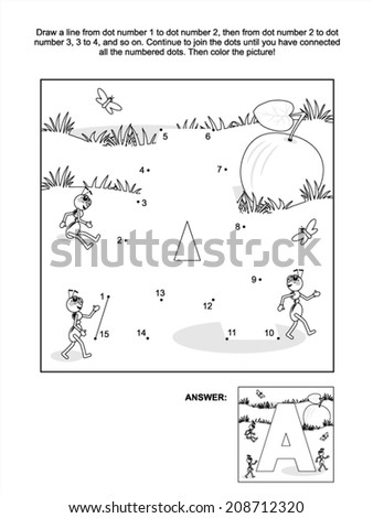 Educational connect the dots picture puzzle and coloring page letter A apple and ants Answer included