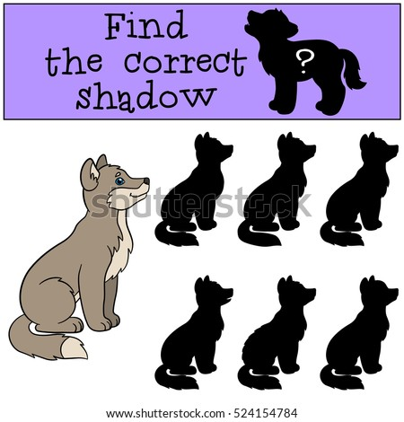 Educational game: Find the correct shadow. Little cute baby wolf sits and smiles.